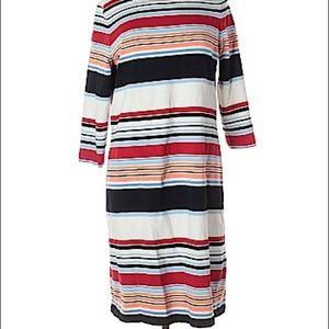 Talbots White striped sweater dress XL
